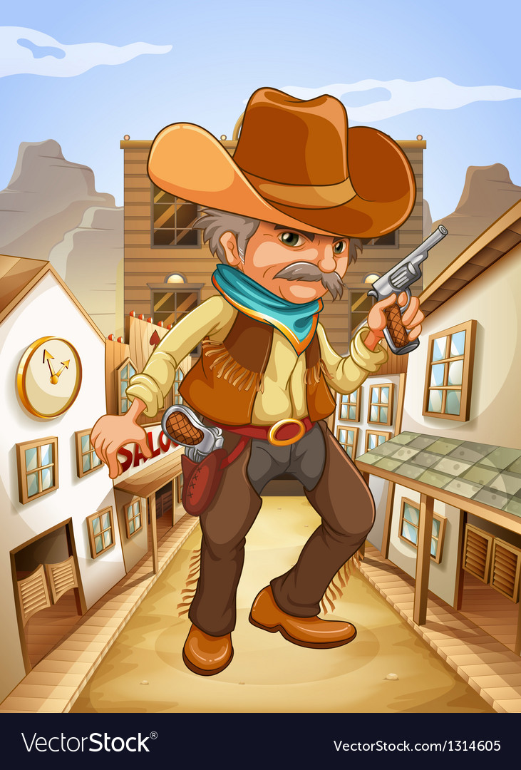 A man holding a gun with a hat outside the saloon vector | Price: 1 Credit (USD $1)