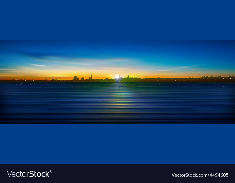 Abstract blue sunrise background with silhouette vector | Price: 3 Credit (USD $3)