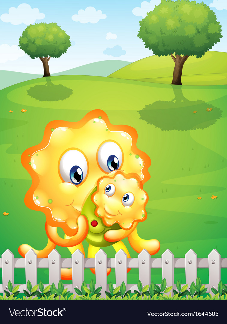 An orange monster carrying her baby monster at the vector | Price: 3 Credit (USD $3)