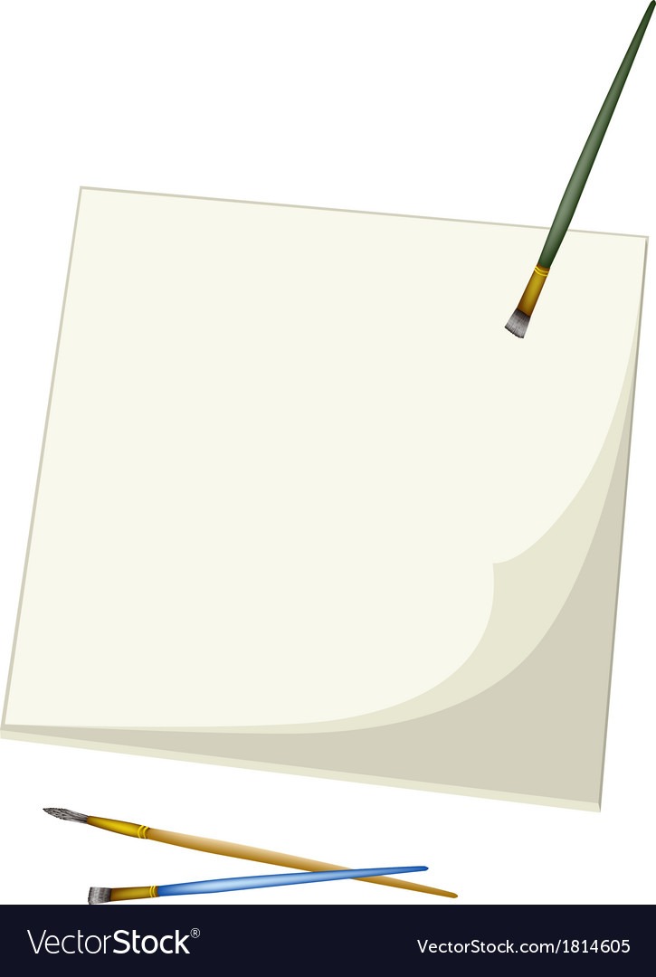 Artist brushes lying on a blank sketchbook vector | Price: 1 Credit (USD $1)
