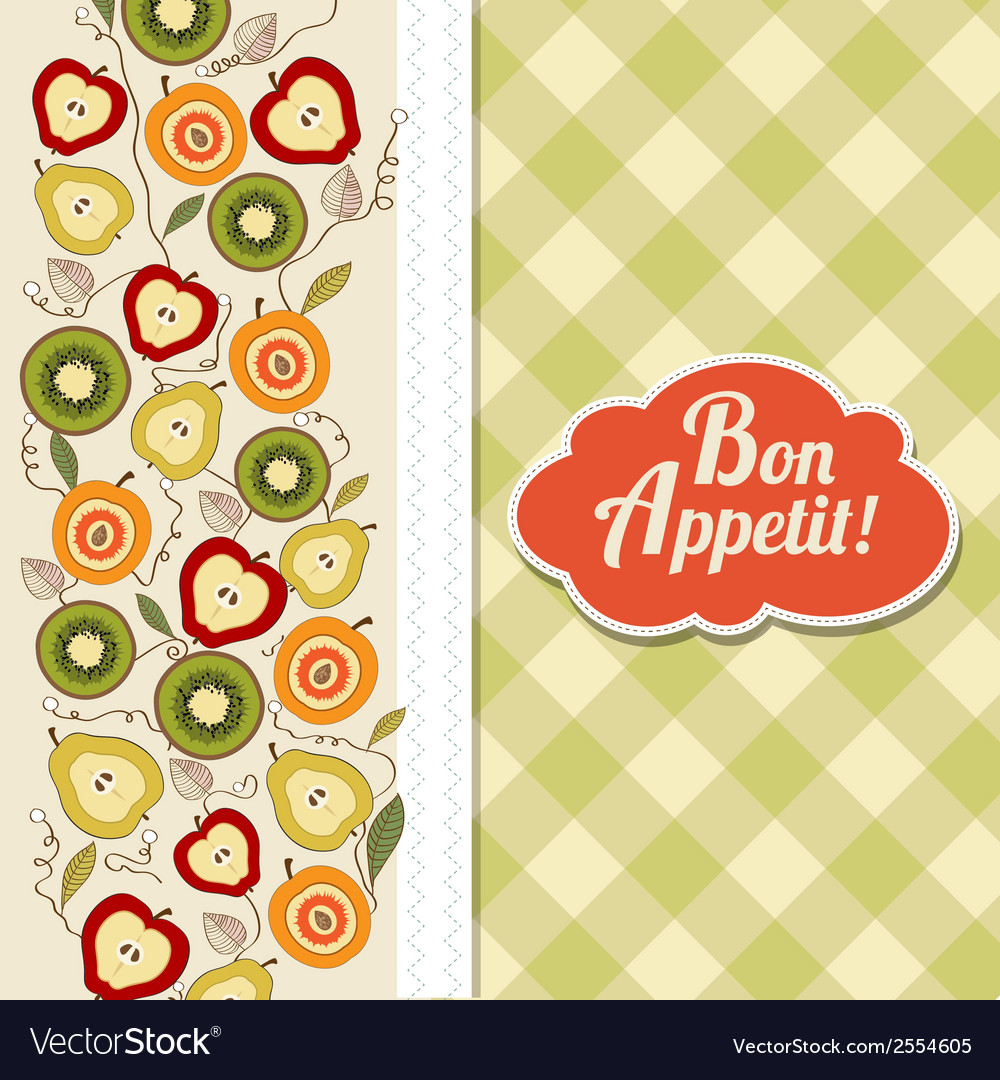 Bon appetite card with fruits vector | Price: 1 Credit (USD $1)