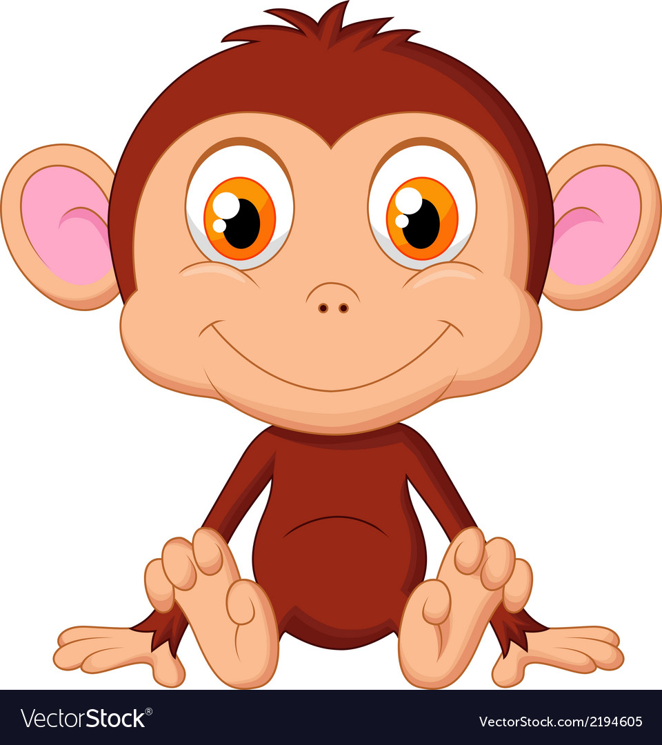 Cute baby monkey cartoon vector | Price: 1 Credit (USD $1)