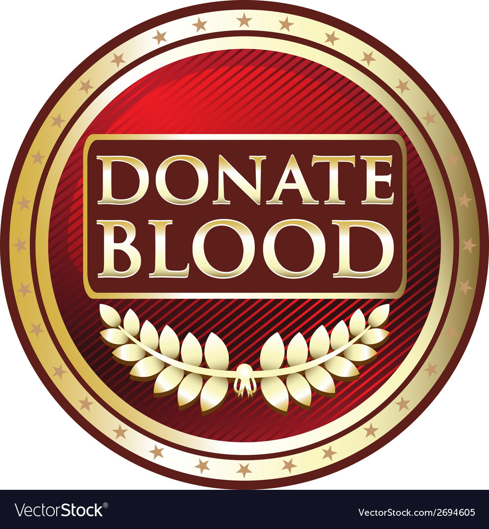Donate blood red label vector | Price: 1 Credit (USD $1)