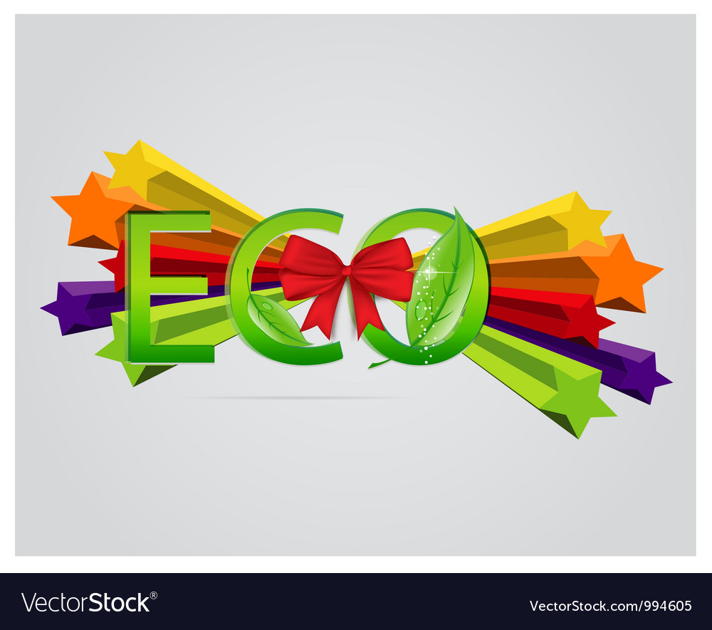 Eco sign with leafs and red ribbons vector   Price: 1 Credit (USD $1)