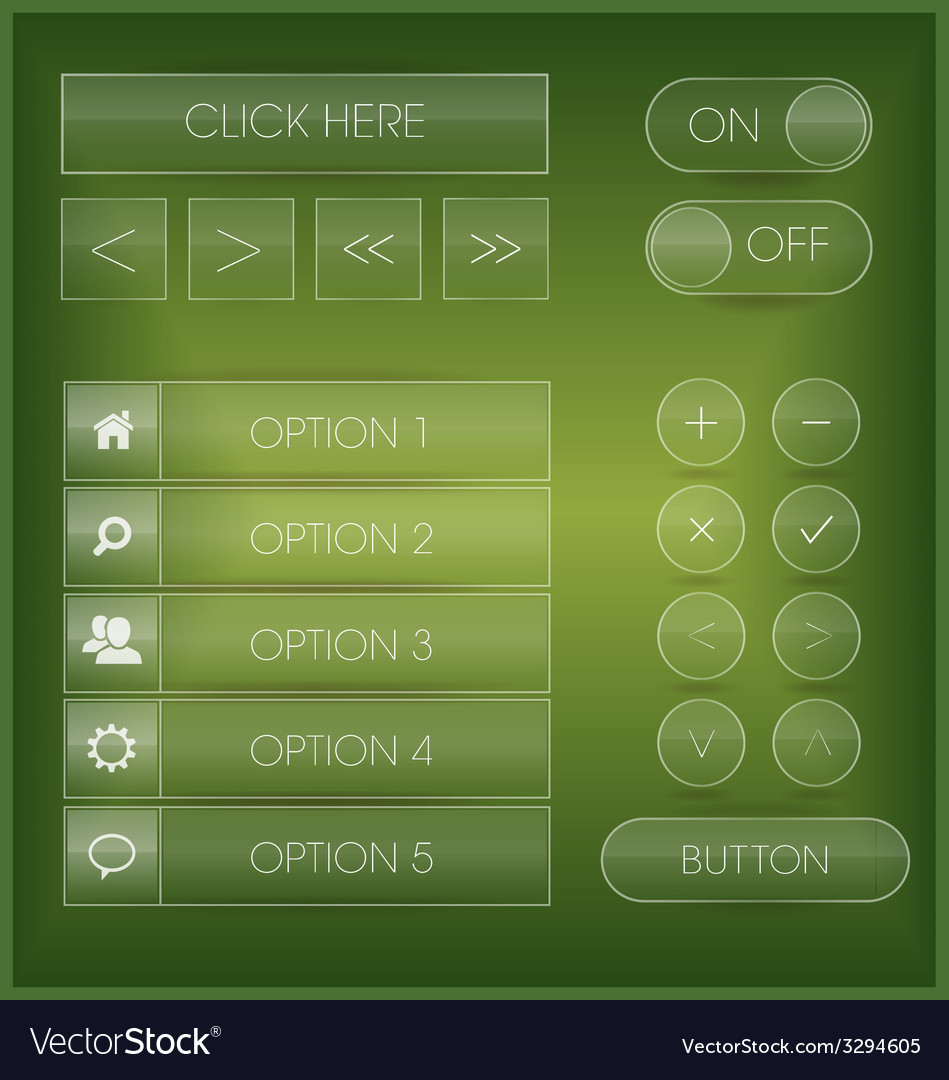 Green interface buttons vector | Price: 1 Credit (USD $1)