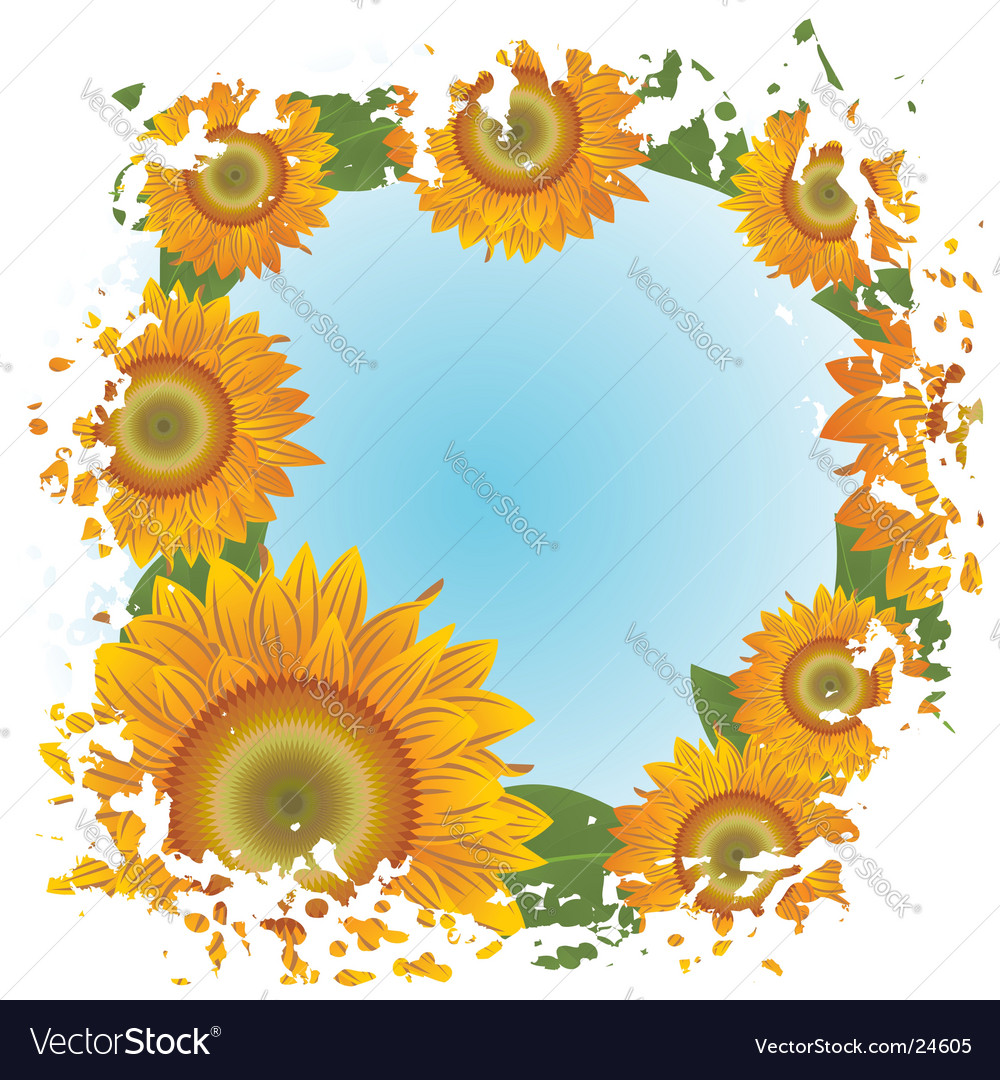 Grunge background with abstract sunflowers vector | Price: 1 Credit (USD $1)
