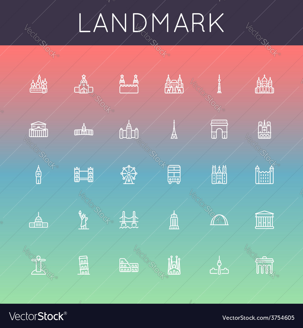 Landmark line icons vector | Price: 1 Credit (USD $1)