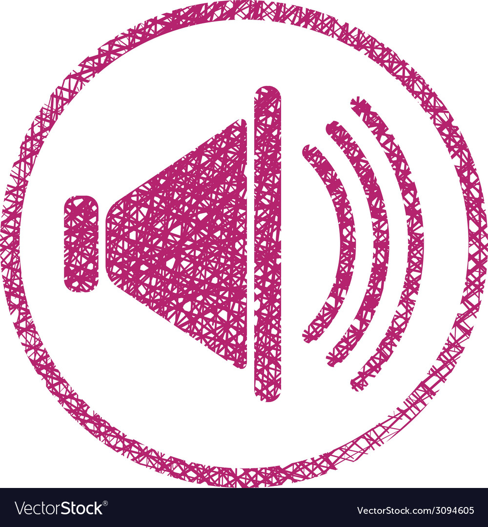 Loudspeaker icon with hand drawn lines texture vector | Price: 1 Credit (USD $1)