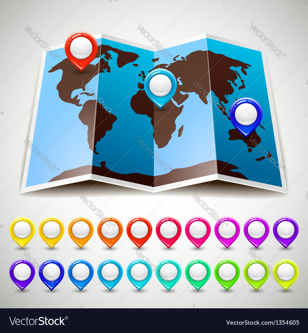 Map world with colorful pin pointers location vector | Price: 1 Credit (USD $1)