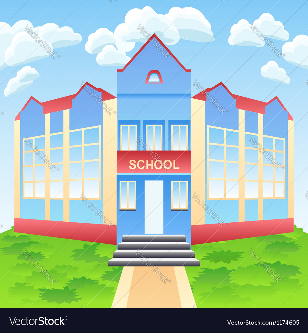 Modern school building vector | Price: 1 Credit (USD $1)