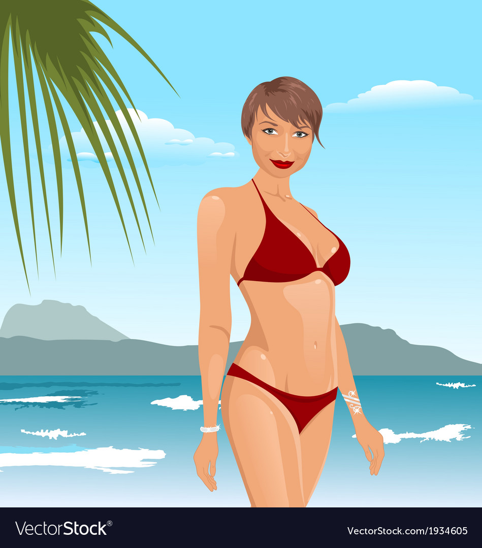 Pretty girl on the beach vector | Price: 1 Credit (USD $1)