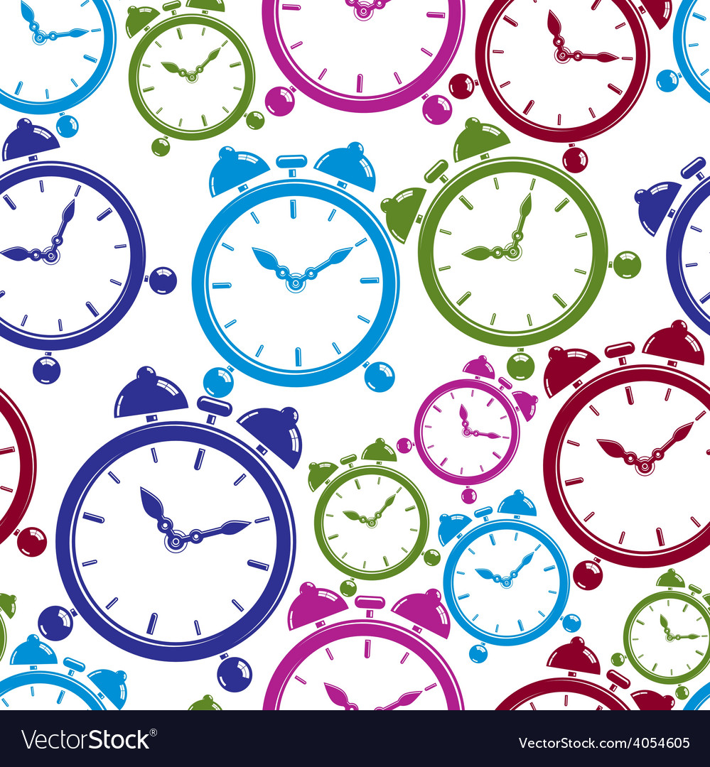 Seamless pattern with clocks wake up idea simple vector | Price: 1 Credit (USD $1)