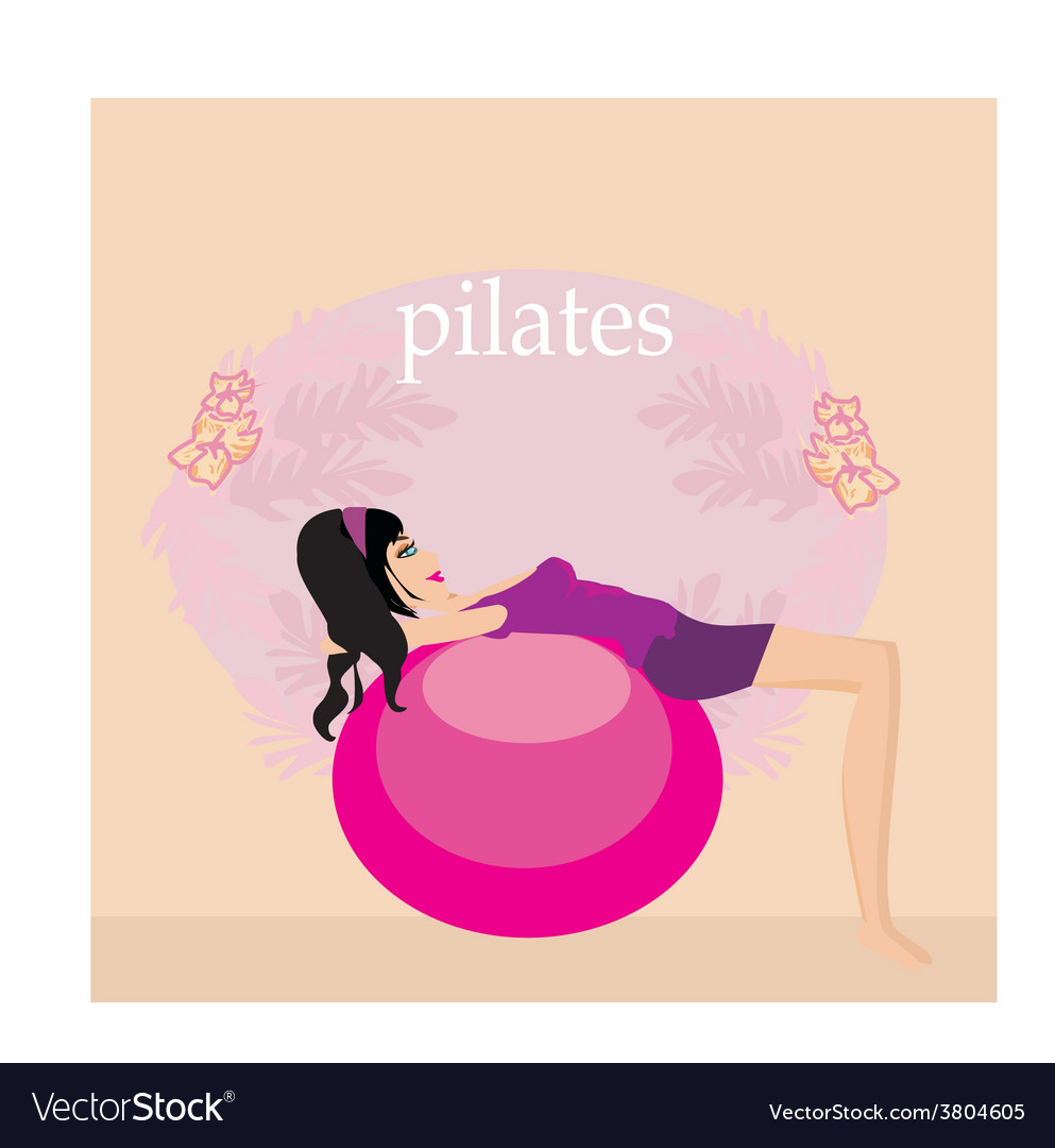 Woman with fitness ball vector | Price: 1 Credit (USD $1)