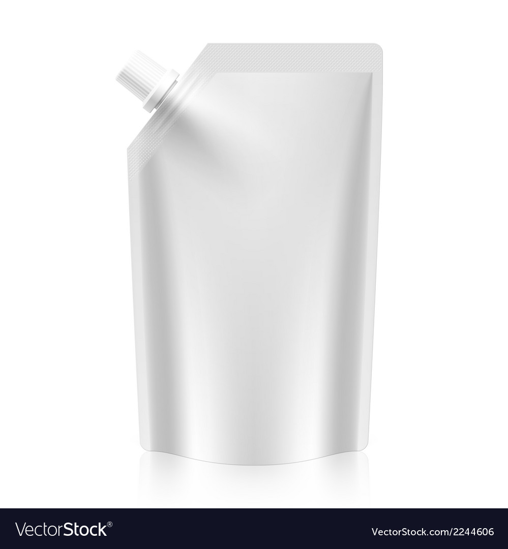 Blank spout pouch bag foil or plastic packaging vector | Price: 1 Credit (USD $1)