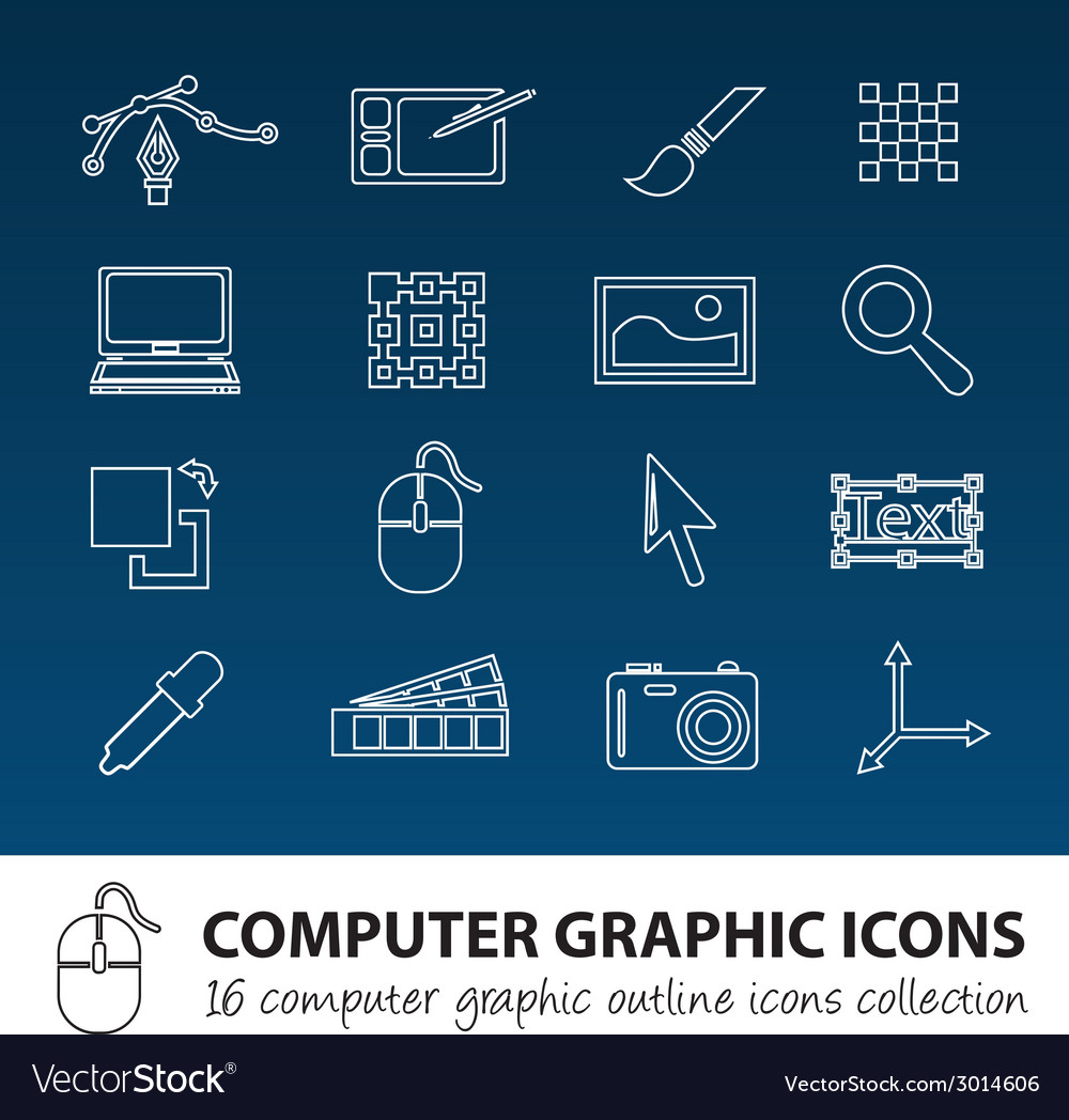 Computer graphics outline icons vector | Price: 1 Credit (USD $1)