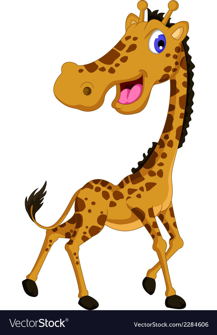 Cute giraffe cartoon posing vector | Price: 1 Credit (USD $1)