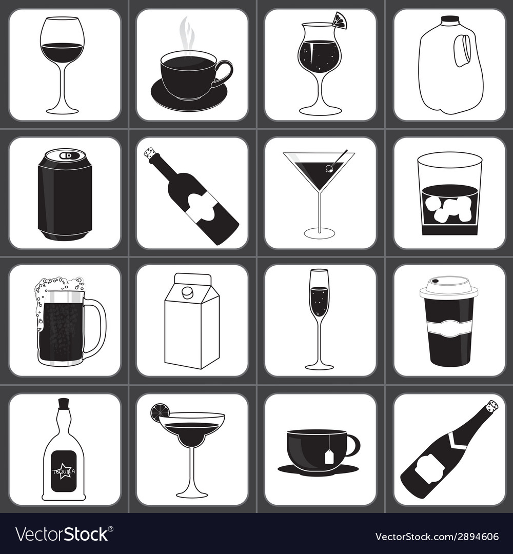 Drinks and beverages icon collection vector | Price: 1 Credit (USD $1)