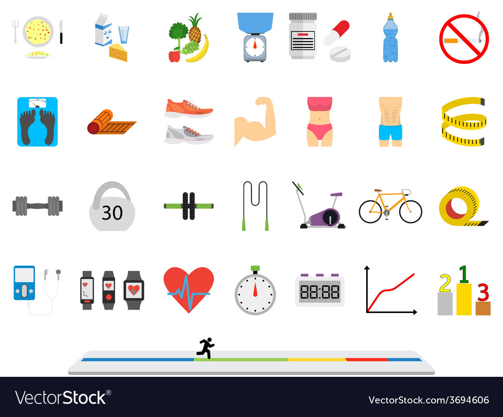 Fitness sport and health colorful flat design vector | Price: 1 Credit (USD $1)