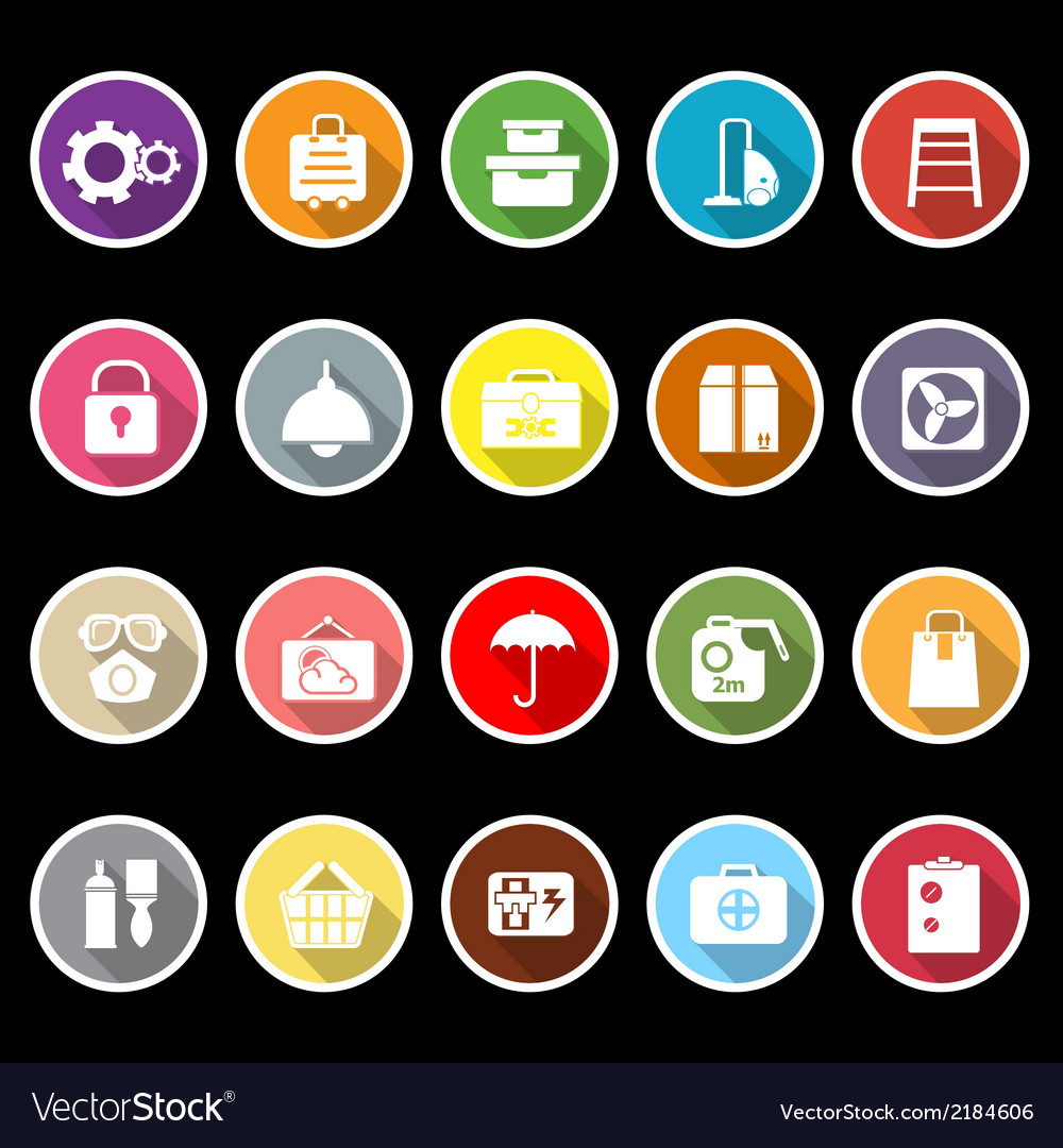 Home storage icons with long shadow vector | Price: 1 Credit (USD $1)