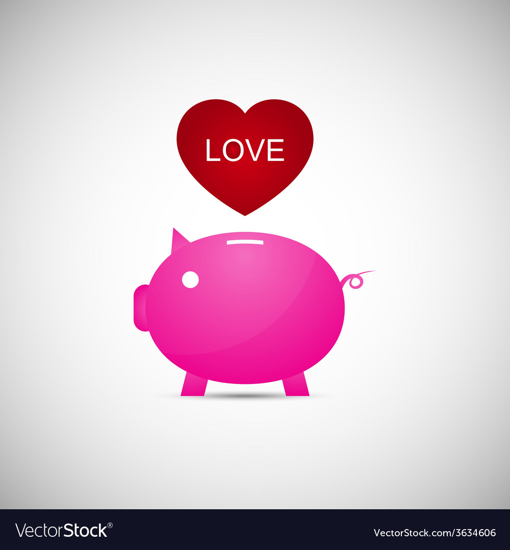 Love heart piggy bank vector | Price: 1 Credit (USD $1)