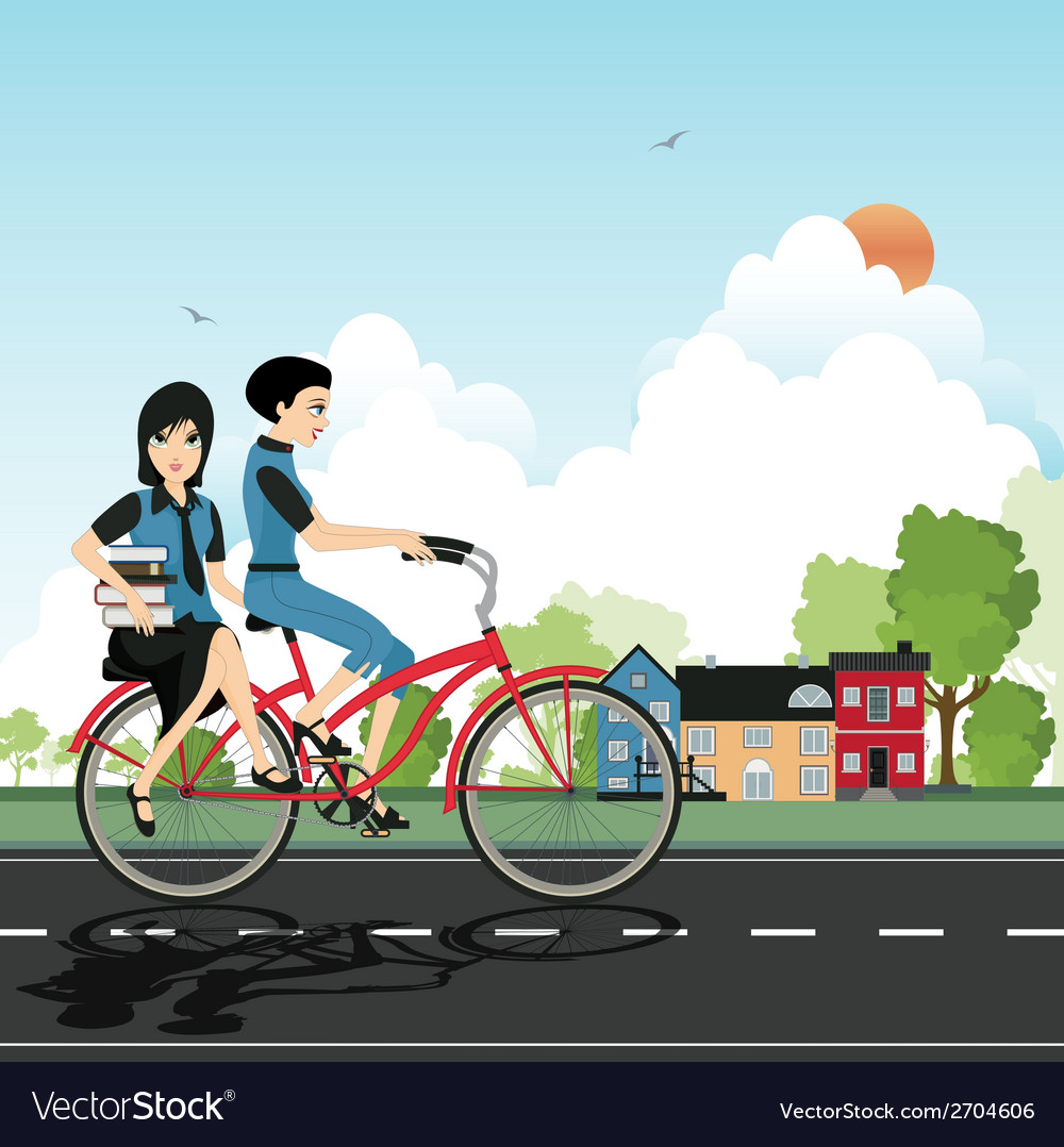 Students cycling vector | Price: 1 Credit (USD $1)