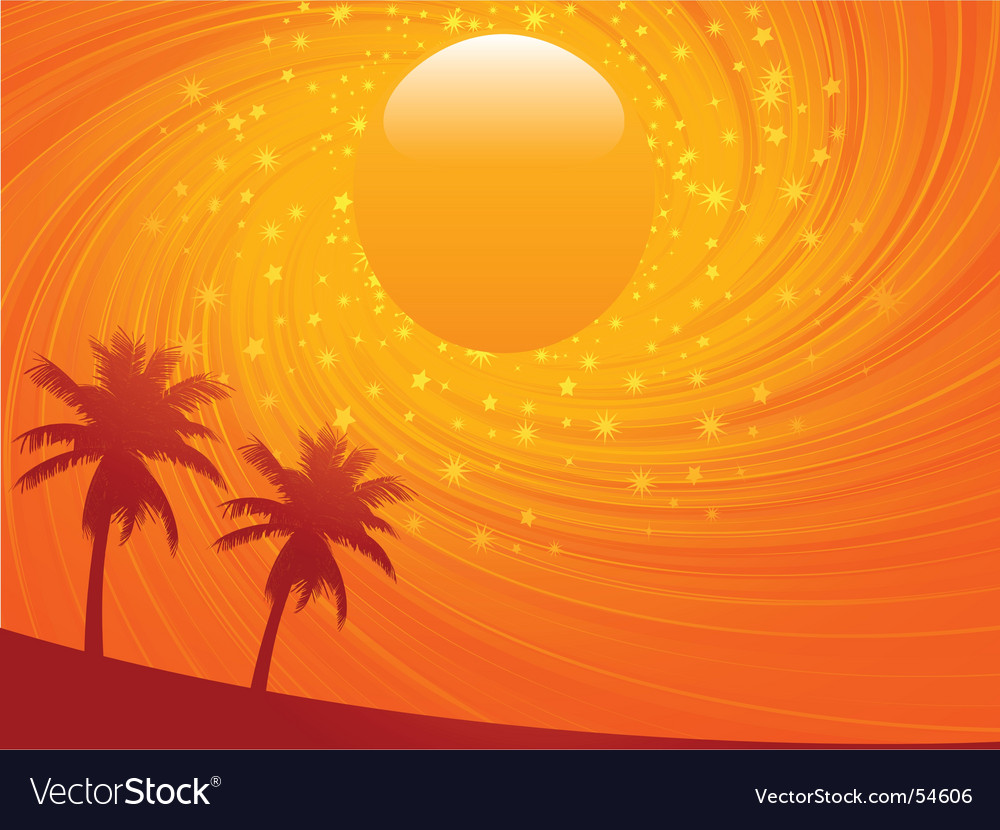 Summer sunset and palm treese vector | Price: 1 Credit (USD $1)