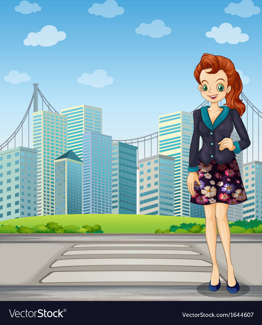 A tall woman standing near the pedestrian lane vector | Price: 3 Credit (USD $3)