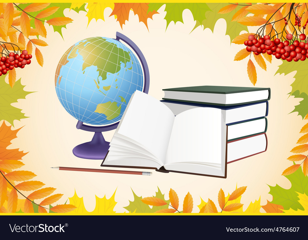 Autumn school background with globe books and vector | Price: 3 Credit (USD $3)