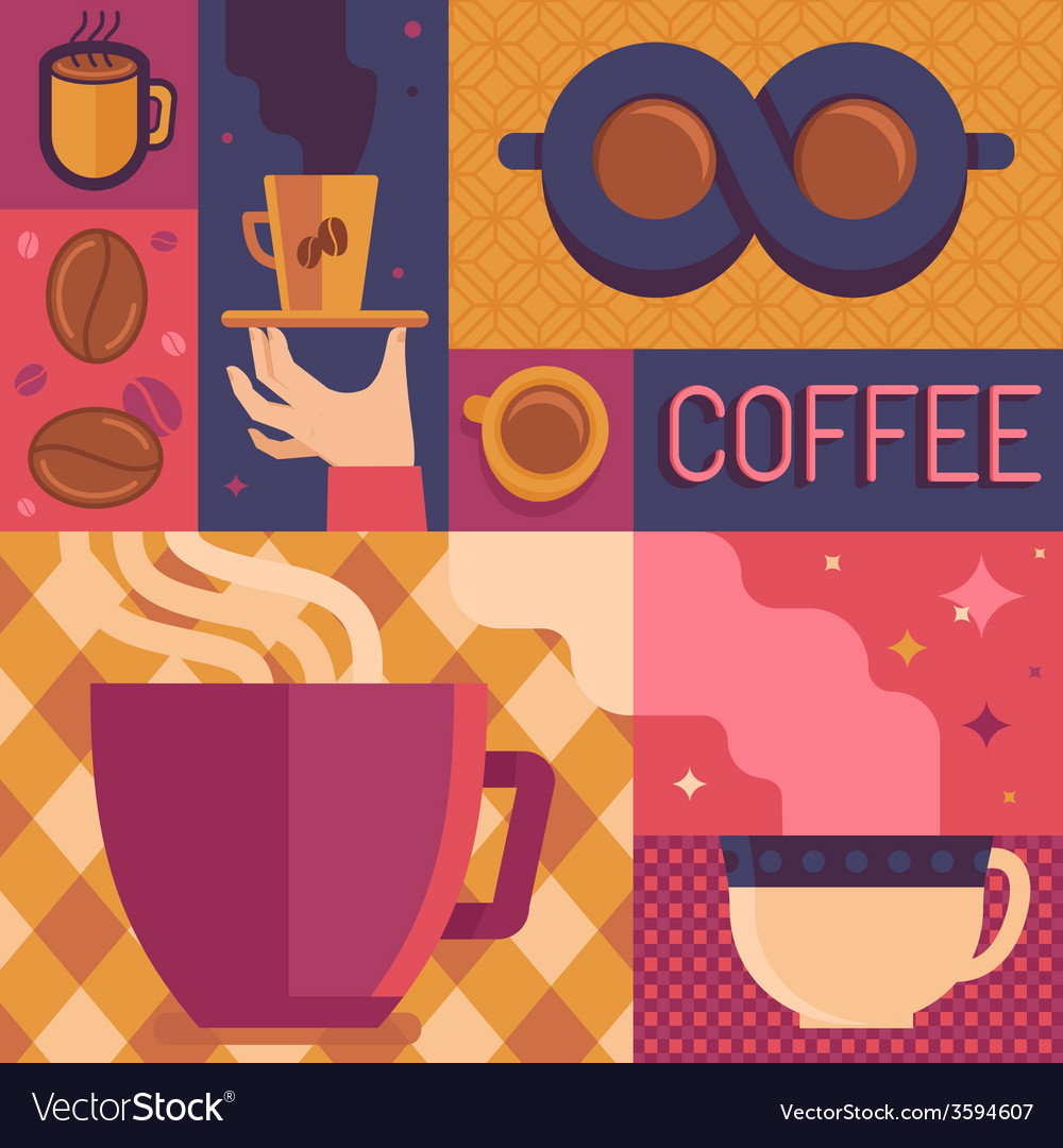 Coffee poster template in flat retro style vector   Price: 1 Credit (USD $1)