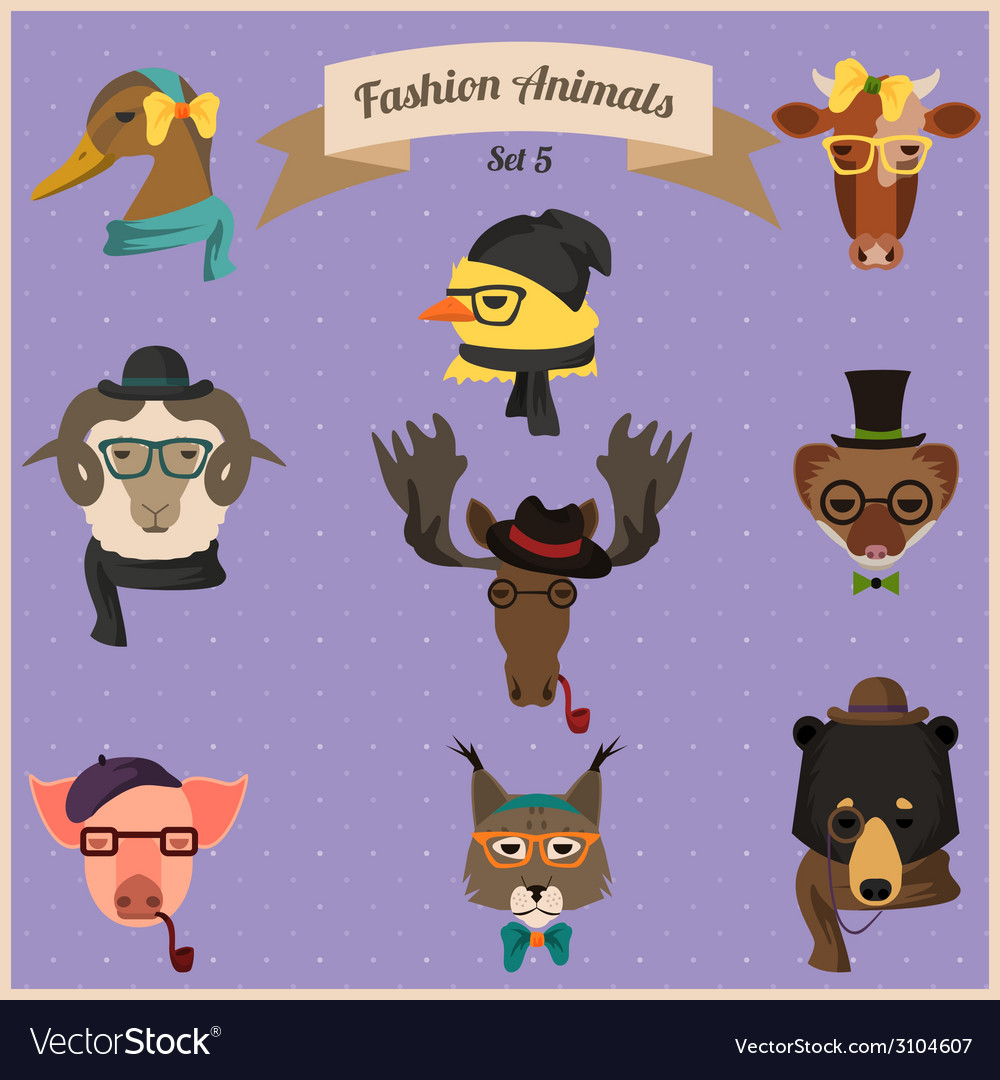 Fashion hipster animals set 5 vector | Price: 1 Credit (USD $1)