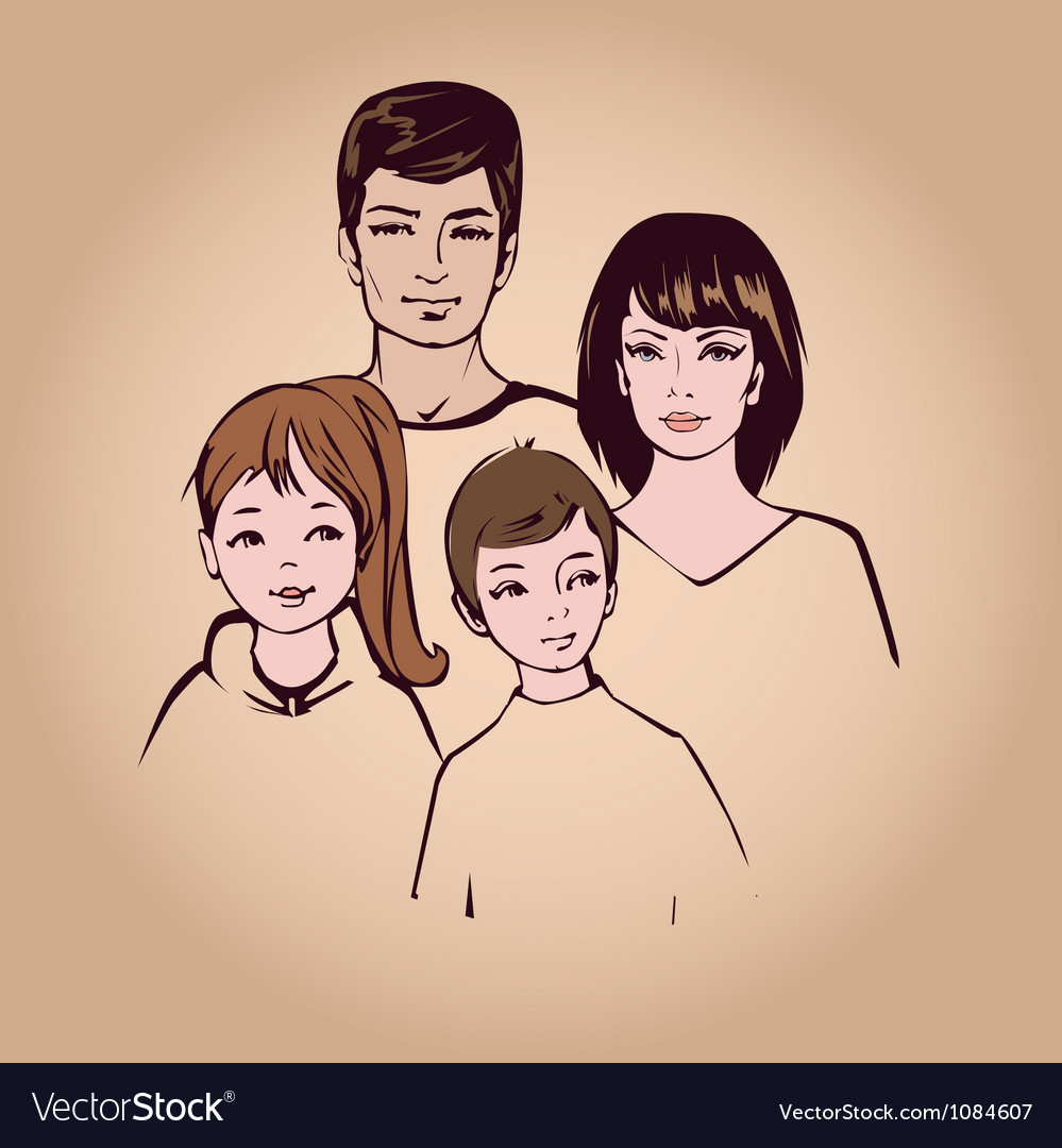 Happy family portret vector | Price: 1 Credit (USD $1)