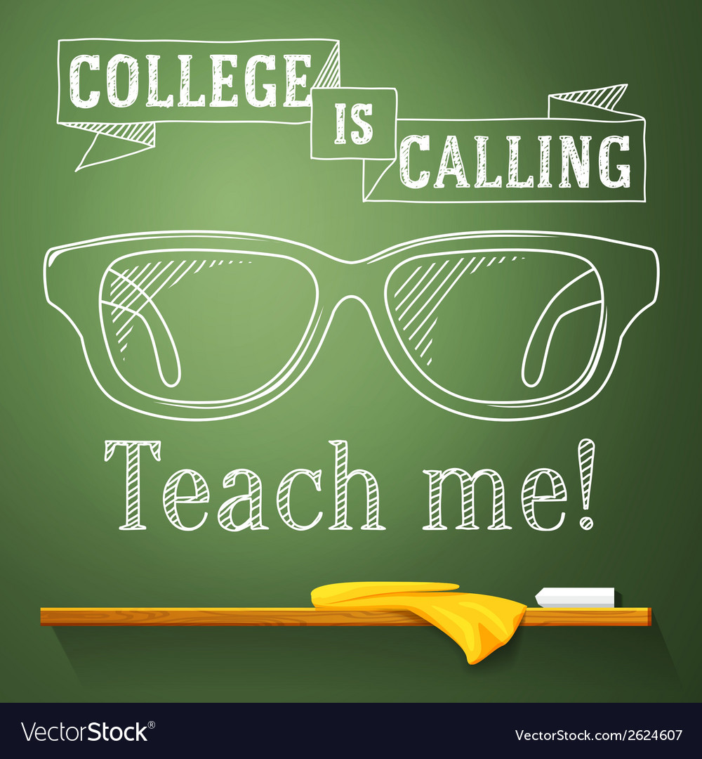 Nerd glasses on the chalkboard with college is vector | Price: 1 Credit (USD $1)
