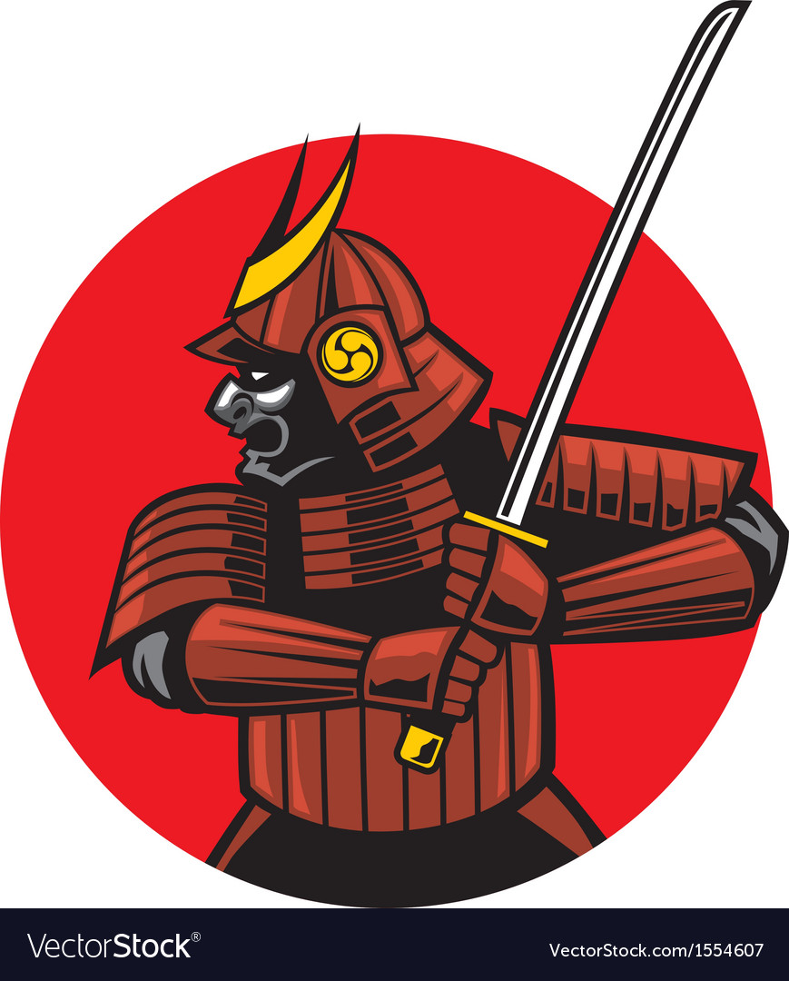 Samurai warrior mascot vector | Price: 3 Credit (USD $3)