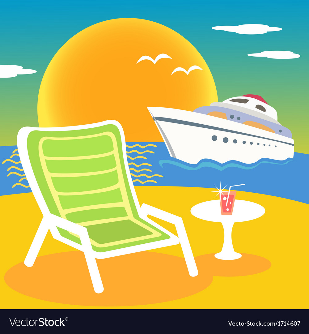 Sea beach and yacht vector | Price: 1 Credit (USD $1)
