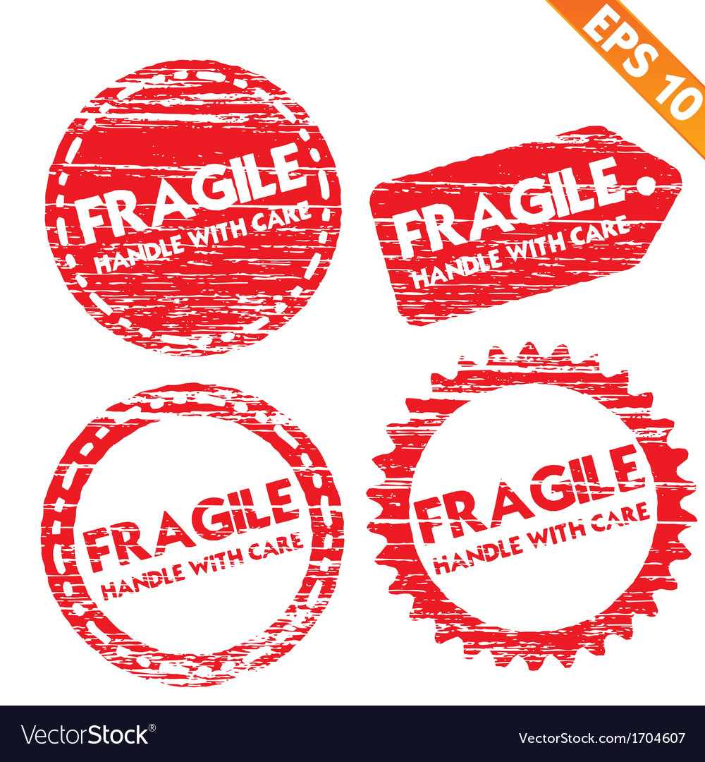 Stamp sticker fragile tag collection - - ep vector | Price: 1 Credit (USD $1)
