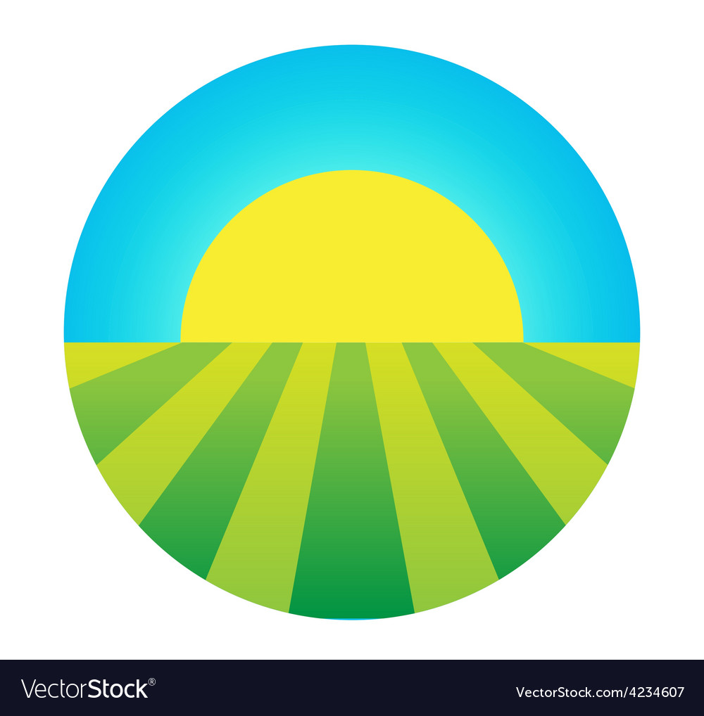 Sun rising under the field icon vector | Price: 1 Credit (USD $1)