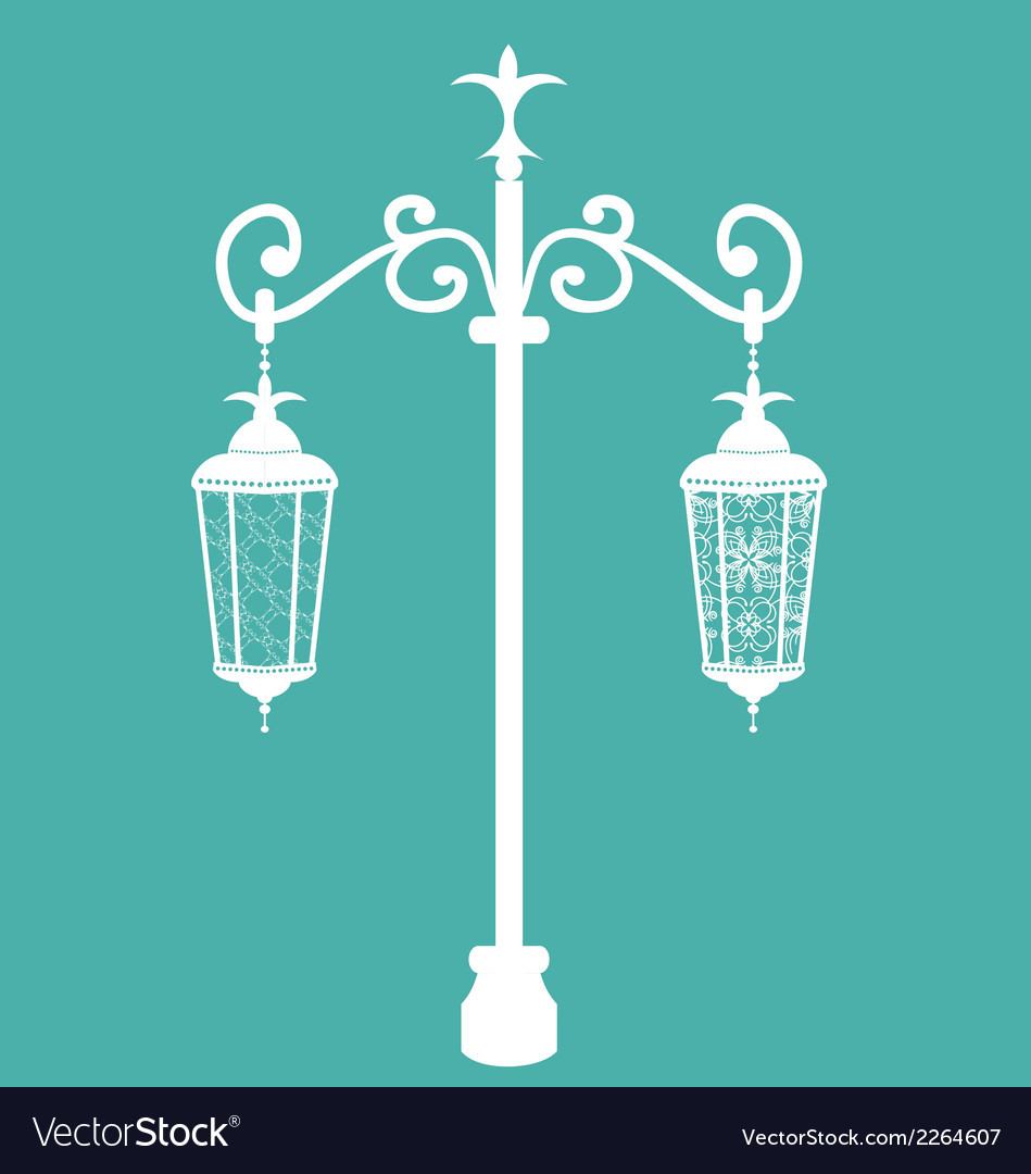 Vintage forging ornate streetlamps isolated vector | Price: 1 Credit (USD $1)