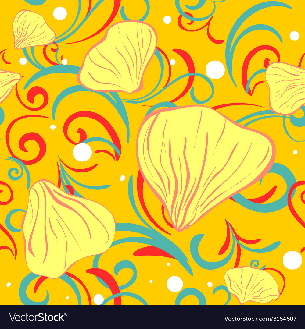 Yellow siamles with flower petal and swirl vector | Price: 1 Credit (USD $1)