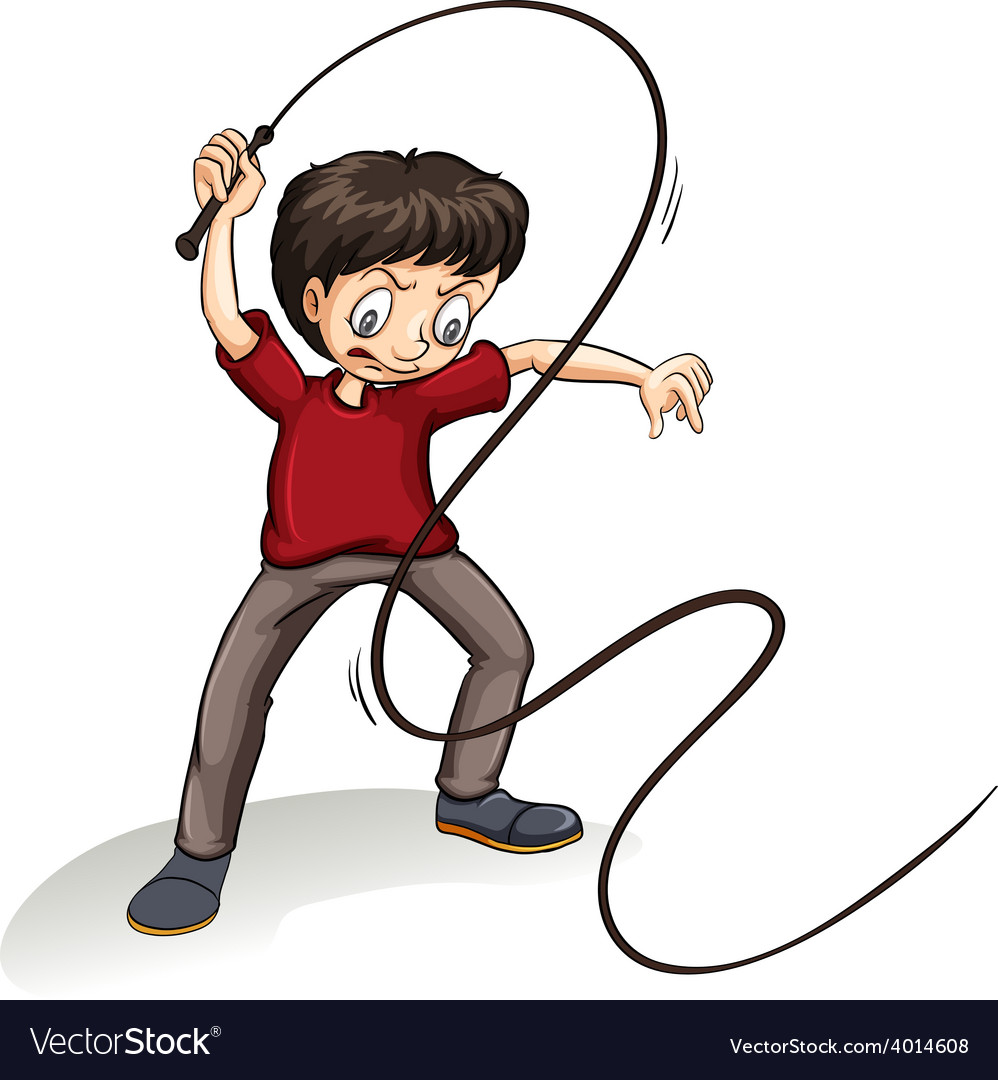 Angry man holding a rope vector