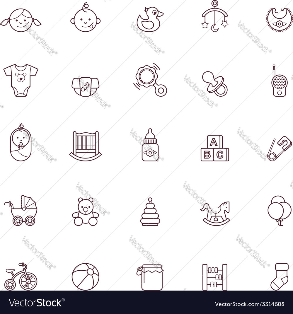 Baby icon set vector | Price: 1 Credit (USD $1)