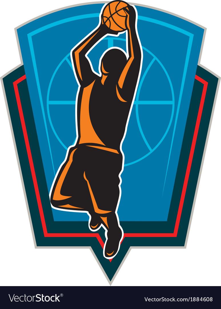 Basketball player rebounding ball shield retro vector | Price: 1 Credit (USD $1)
