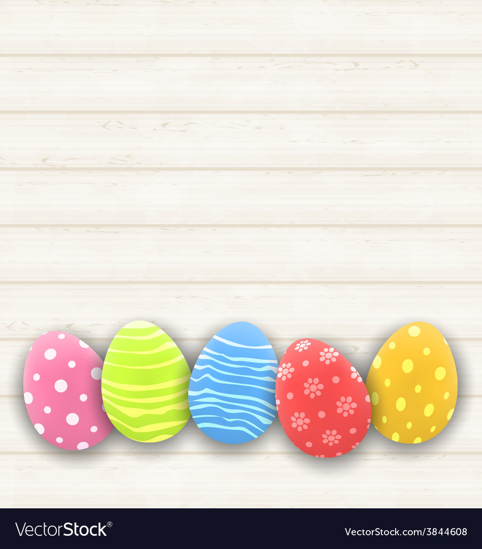 Easter colorful eggs on wooden texture - vector | Price: 1 Credit (USD $1)