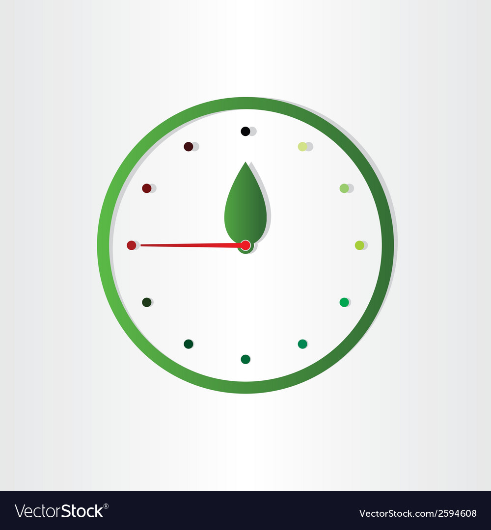 Eco clock concept time for ecology abstract design vector | Price: 1 Credit (USD $1)