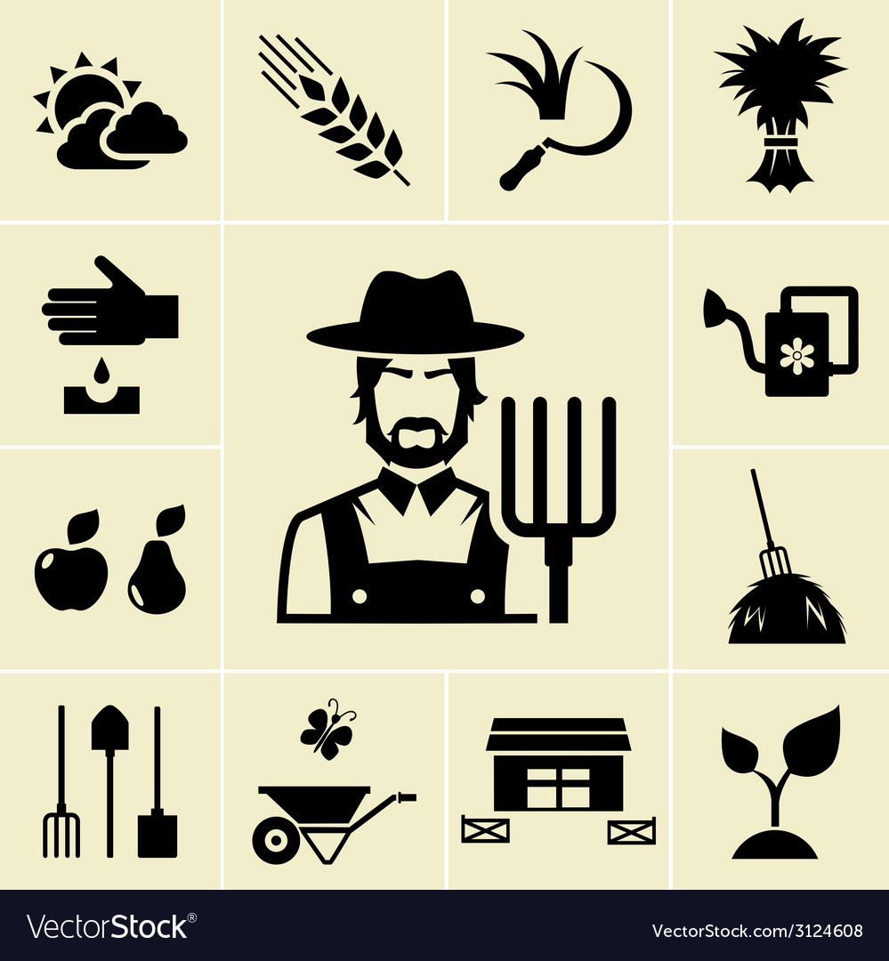 Farmer surrounded by farming themed icons vector | Price: 1 Credit (USD $1)