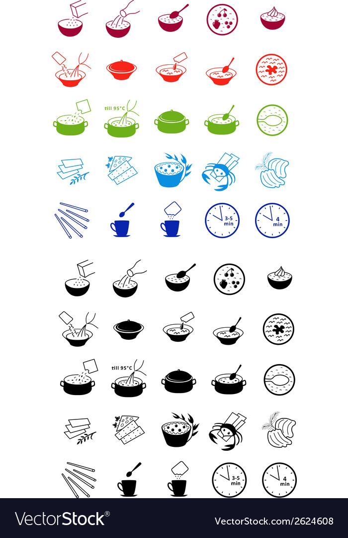 Fast food cooking process icons vector | Price: 1 Credit (USD $1)