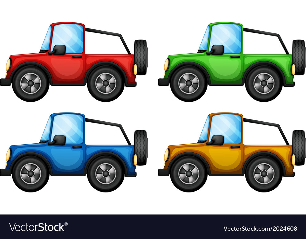 Four colorful jeepneys vector | Price: 1 Credit (USD $1)