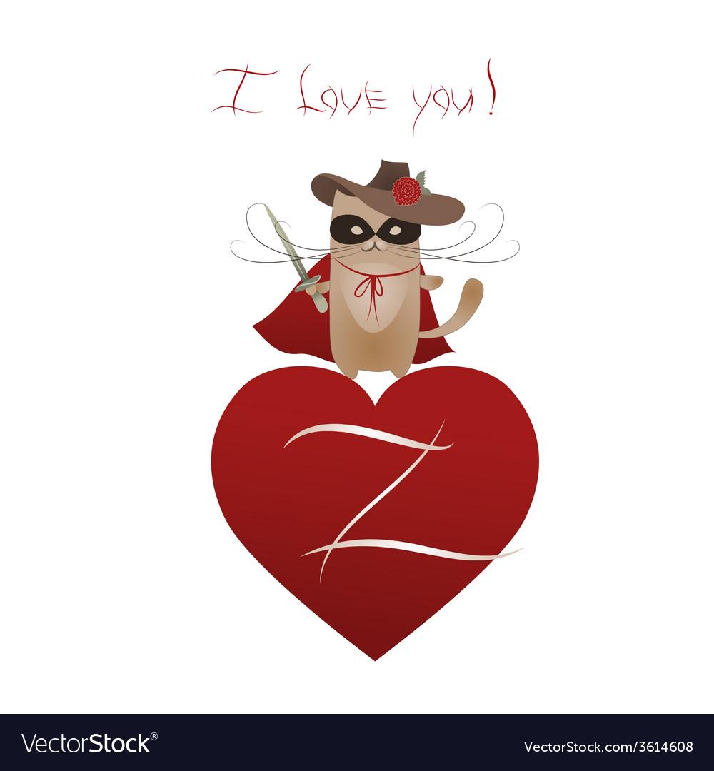 Funny cat zorro valentine vector | Price: 1 Credit (USD $1)
