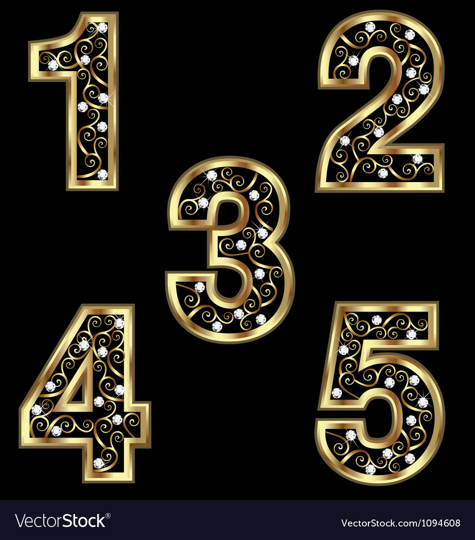 Gold numbers with swirly ornaments vector | Price: 1 Credit (USD $1)