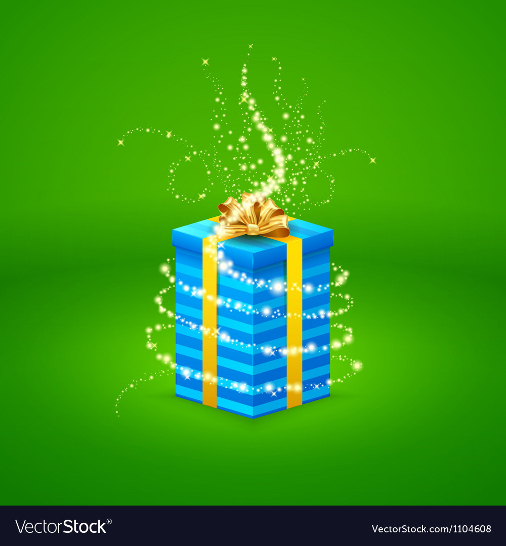 Magic light comes from a beautiful gift box closed vector | Price: 3 Credit (USD $3)