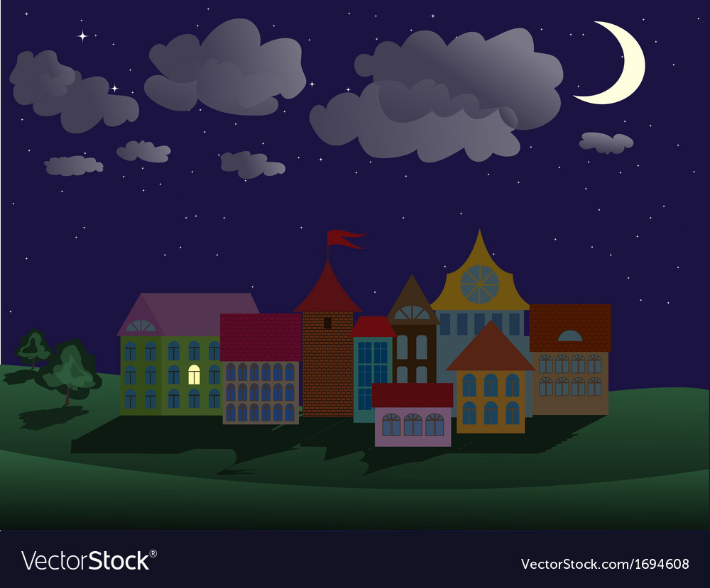 Night town vector | Price: 1 Credit (USD $1)